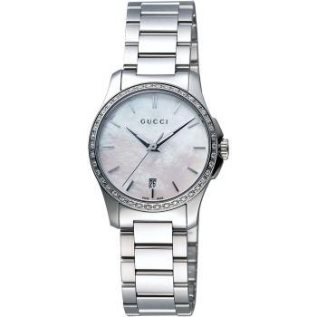 GUCCI G-Timeless 真鑽石英女錶-珍珠貝x銀/27mm YA126543