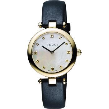 GUCCI Diamantissima 古馳唯美時尚石英女錶-珍珠貝x金框x黑/32mm YA141404
