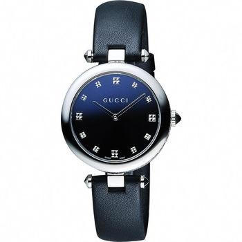 GUCCI Diamantissima 古馳菱格紋女錶-黑/32mm YA141403