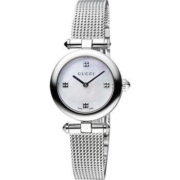 GUCCI Diamantissima 古馳米蘭女錶-珍珠貝x銀/27mm YA141504