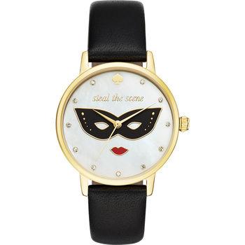 Kate Spade 魅夜女王派對腕錶-珍珠貝x黑/34mm KSW1181