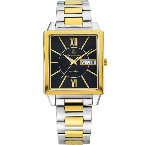 Olympia Star 奧林比亞之星-經典時尚羅馬方型腕錶-雙色*黑/33mm  58065MSK