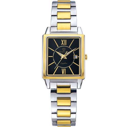 Olympia Star 奧林比亞之星-經典時尚羅馬方型腕錶-雙色*黑/25mm  58065LSK