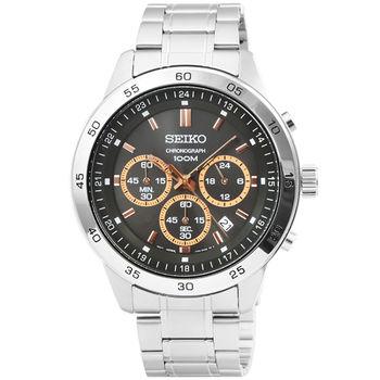 SEIKO精工超霸三眼計時賽車錶-鐵灰面金刻度 / SKS521P1