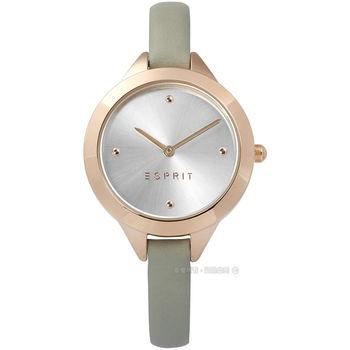 ESPRIT / ES109392005 / 簡約典雅圓珠細緻真皮手錶 銀x玫瑰金框x灰 32mm