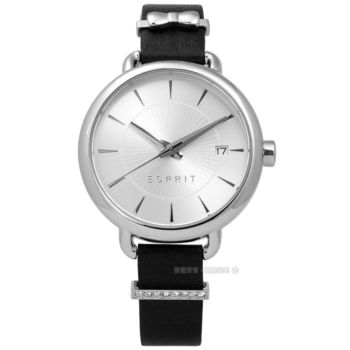 ESPRIT / ES109402001 / 晶鑽蝴蝶結巧思質感真皮手錶 銀x黑 34mm