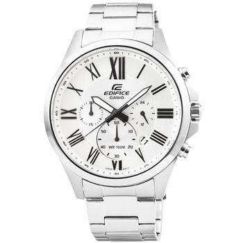 CASIO 卡西歐EDIFICE大錶徑三眼計時錶-白 / EFV-500D-7A
