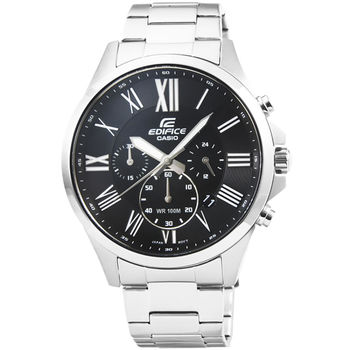 CASIO 卡西歐EDIFICE大錶徑三眼計時錶-黑 / EFV-500D-1A