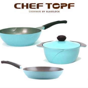 ★天空藍系列【韓國Chef Topf】玫瑰/薔薇鍋LA ROSE系列3件組(炒鍋26cm+平鍋28cm+湯鍋24cm)