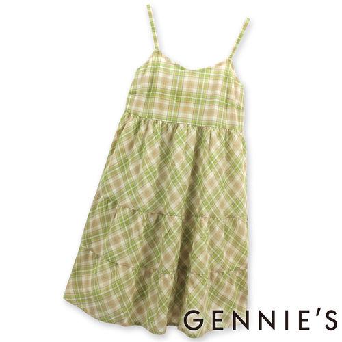【Gennies奇妮】輕甜格紋銀蔥春夏孕婦背心洋裝-綠格紋 (G1134)