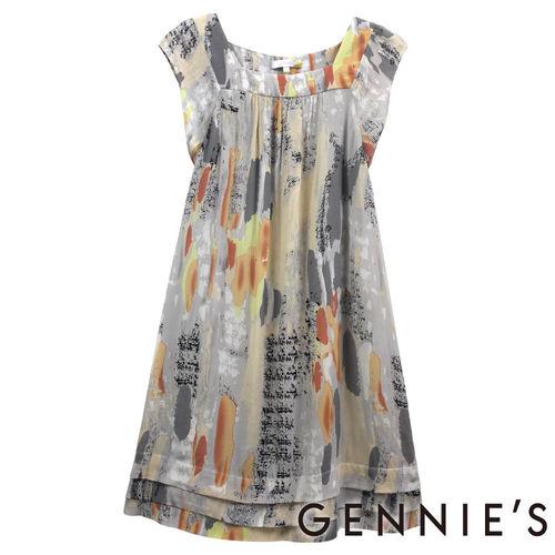 【Gennies奇妮】橘灰墨彩風格春夏孕婦洋裝(H1124)