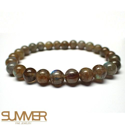 【SUMMER寶石】天然拉長石圓珠手珠 (隨機出貨)