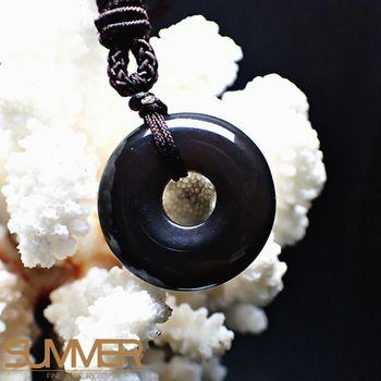【SUMMER寶石】天然黑曜石平安扣項鍊 (隨機出貨)