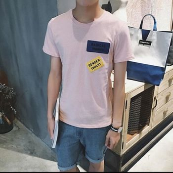 【協貿國際】字母貼佈短袖男士夏季純色休閒圓領T單件