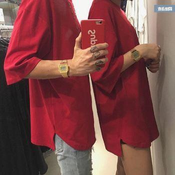【協貿國際】純色休閒圓領短袖T卹半袖情侶蝙蝠袖上衣單件