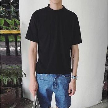 【協貿國際】男士夏季韓版修身純色T卹純棉上衣半高領單件