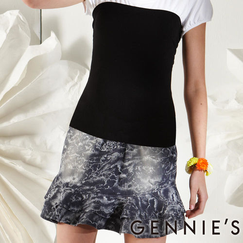 【Gennies奇妮】水洗牛仔荷葉裙襬春夏孕婦短裙(G4110)