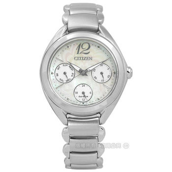 CITIZEN 星辰表★贈皮錶帶FD2020-54D / L 花朵盛開白蝶貝光動能不鏽鋼腕錶 白色 33mm