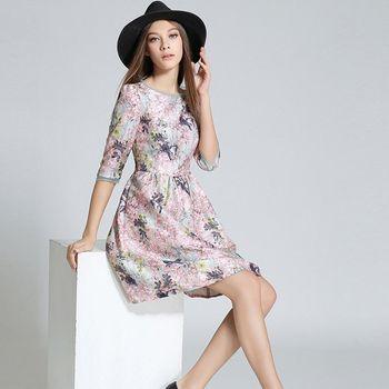 【理子時尚】圓領氣質印花五分袖金線連衣裙