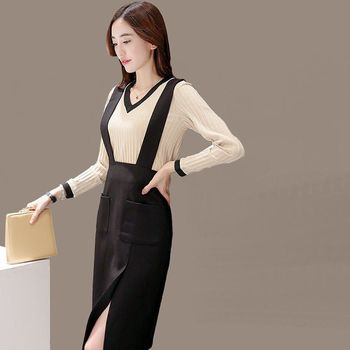 【理子時尚】V領滾邊長袖上衣吊帶開叉裙套裝
