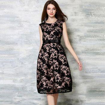 【理子時尚】無袖網紗值絨印花收腰背心裙洋裝