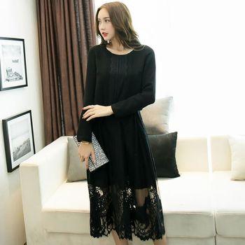 【KVOLL中大尺碼】黑色蕾絲縮腰綁帶長洋裝