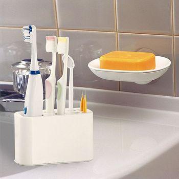 【特惠組】日本LEC可變換收納牙刷架+ 兩用式吸盤皂盤