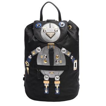 PRADA TESSUTO三角LOGO尼龍束口穿釦雙口袋Robot造型後背包(黑X銀灰)