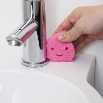 【特惠組】日本製造AISEN黏貼式洗臉台海綿刷(1包3入) 4包裝