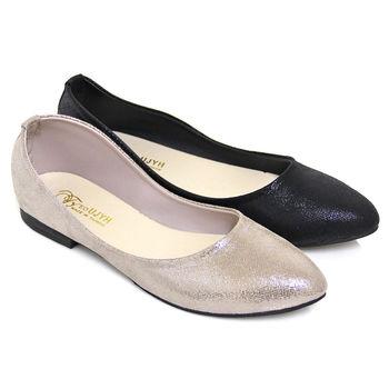 【Pretty】金箔柔光平底尖頭娃娃鞋-芋色、黑色