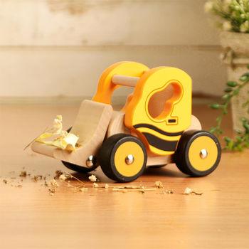樂兒學 兒童模型車木製學習積木-推土機(黃)