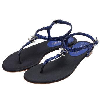 CHANEL 經典雙C LOGO菱格紋亮片小羊皮露趾夾腳涼鞋(藍-35.5)