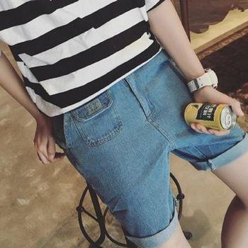 【協貿國際】日系清爽牛仔短褲水洗口袋男士寬鬆五分褲單件