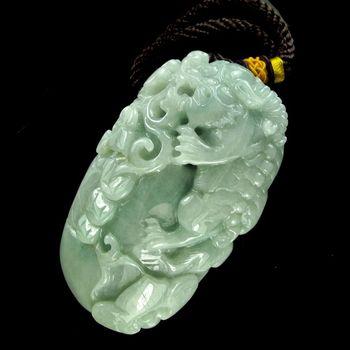 [晉佳珠寶] Gemdealler Jewellery 天然緬甸A貨翡翠 生動精雕瑞獸麒麟送福