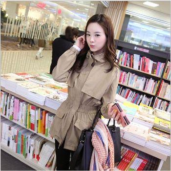 (現貨+預購 RN-girls)-韓版秋裝新款氣質時尚立領抽繩鬆緊外套