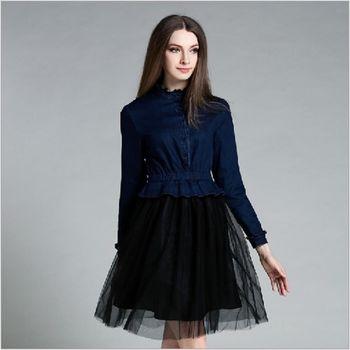 (現貨+預購 RN-girls)-歐美秋季新款花邊領牛仔拼接網紗假兩件連身裙
