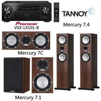 【Pioneer+TANNOY】7.2聲道環繞擴大機+5聲道劇院喇叭(VSX-LX101-B+Mercury 7.1+Mercury 7.4+Mercury 7C)