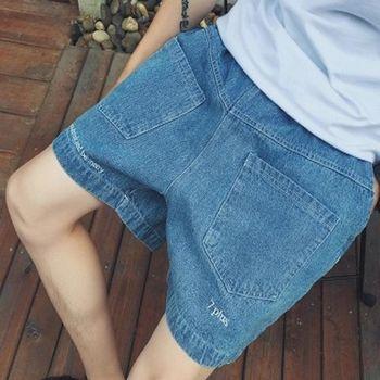 【協貿國際】寬鬆休閒牛仔短褲男士腰部鬆緊字母刺繡中褲單件