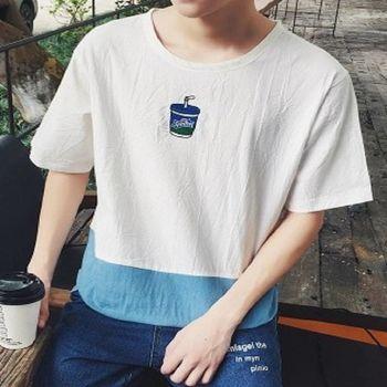 【協貿國際】飲料印花韓版拼料設計男士短袖寬鬆男T單件