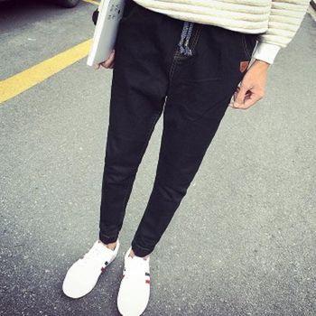 【協貿國際】男士牛仔小腳褲腰部抽繩束腳褲牛仔褲男單件