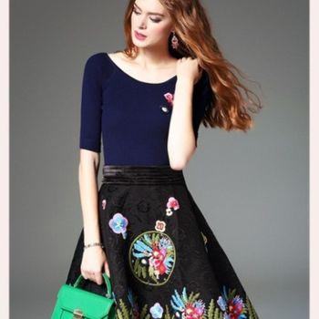 預購【伊凡莎時尚】法式多彩刺繡緹花假兩件洋裝(S-XL)