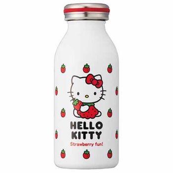 日本 mosh!×sanrio Hello Kitty 350ml 不鏽鋼牛奶瓶 造型保溫瓶 保冷隨行杯 ( 白底紅草莓 )