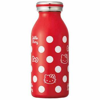 日本 mosh!×sanrio Hello Kitty 350ml 不鏽鋼牛奶瓶 造型保溫瓶 保冷隨行杯 ( 紅底白圓點 )