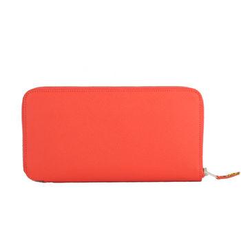 HERMES SILK in Wallet 高質感防刮皮革絲巾皮夾(粉橘)