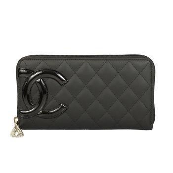 Chanel 經典雙C LOGO 菱格紋拉鍊長夾(黑色)
