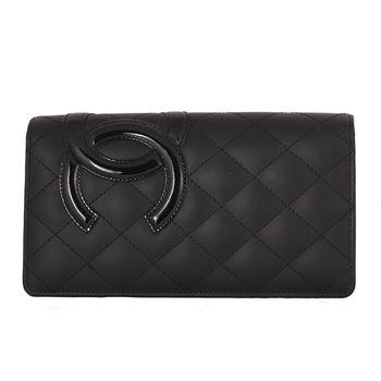 Chanel 康朋系列雙C 菱格對折長夾(黑色-螢光粉)