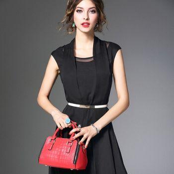 預購【伊凡莎時尚】法式優雅氣質修身蠶絲洋裝(S-XL)