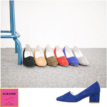 ALMANDO-SHOES ★正韓麂皮葉紋低粗跟鞋★ 韓國空運 女性休閒鞋 包鞋