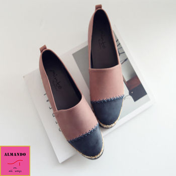 ALMANDO-SHOES ★韓版拼接雙色編織平底休閒鞋★韓國空運 甜美包鞋
