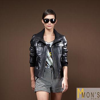 MONS羅紋針織領小羊皮外套
